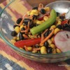 Corn, Black Bean, and Radish Salad with Spicy Vegan Dressing