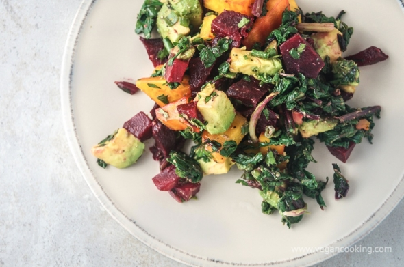 Beet, Beet Green, and Avocado Salad with Tahini Lemon Dressing