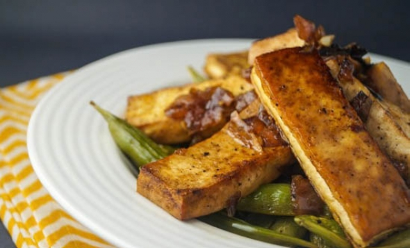 Sesame Tofu with Sugar Snap Peas