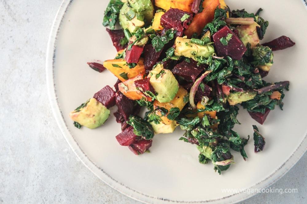 Beet, Beet Green, and Avocado Salad with Tahini Lemon Dressing