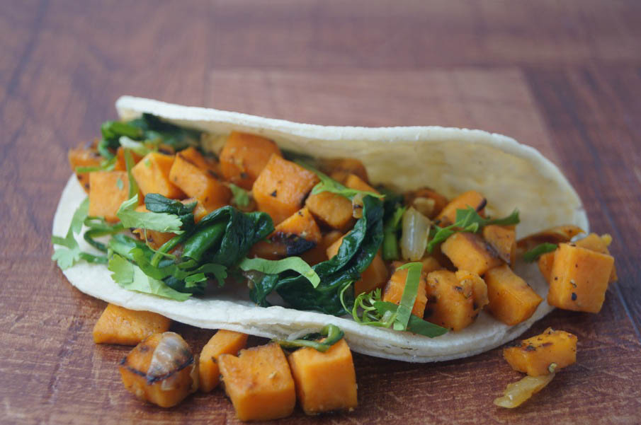 Sweet Potato Spinach Tacos